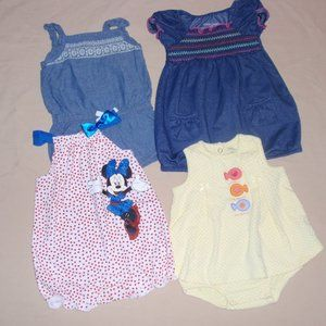 Lot of 4 Girls Summer Bubbles Minnie 6m